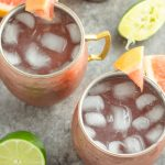 These lightened up Moscow mules have less calories and sugar than the original, with a refreshing grapefruit flavor!
