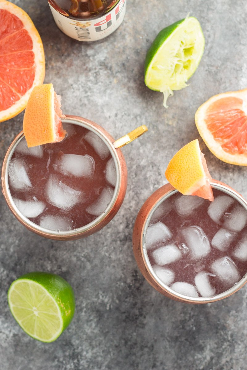These skinny grapefruit Moscow mules are the perfect summer refresher, with less calories and sugar than the original!