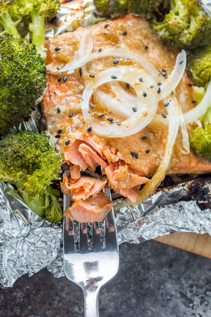 Whole30 grilled salmon packets with a sweet onion teriyaki marinade. So easy to make and dinner in under 20 minutes!