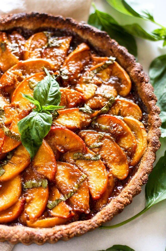 Peach Basil Paleo Tart