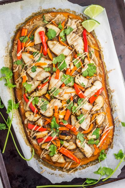 Thai Chicken Sweet Potato Flatbread (Paleo)