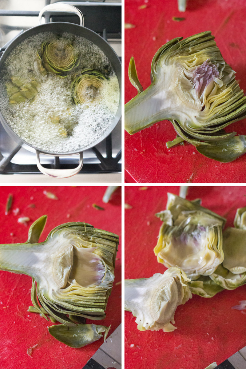 How to boil fresh artichokes to make a skinny paleo lemon artichoke dip