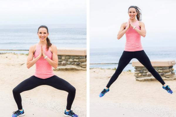 No equipment home cardio workout - sumo squat jumps
