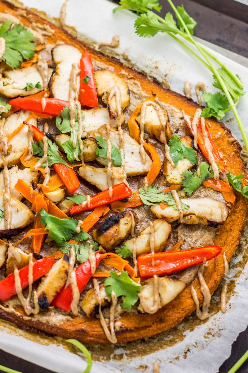 Gluten free and paleo, this Thai inspired flatbread made with sweet potato is the most amazing combo of flavors!!