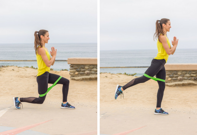 Resistance Band Booty Workout - Lunge Back Lifts