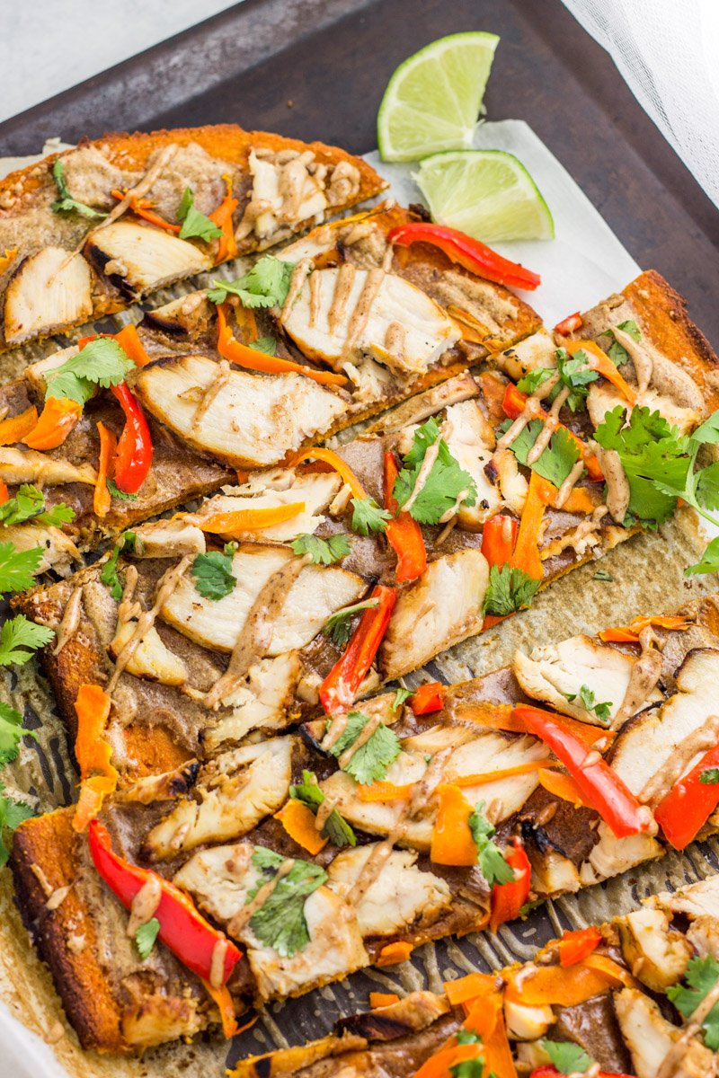 Healthy Thai flatbread made with a sweet potato base, topped with almond butter sauce, and packed with fresh, Asian-inspired flavor!