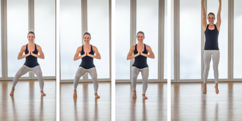 20 minute home cardio barre tap squat hops