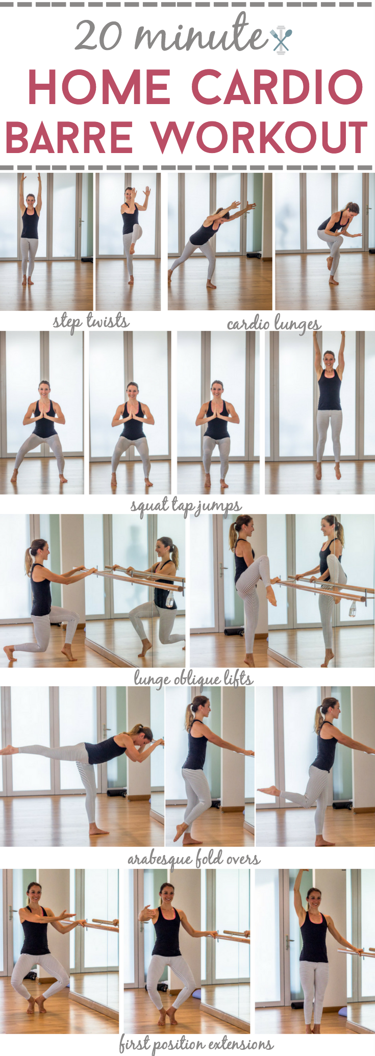 This home barre workout is a cardio blaster! Sculpts and tones your lower  body while