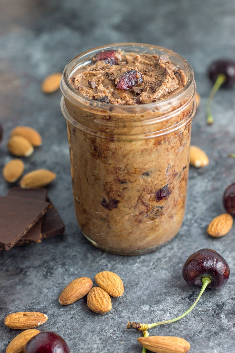 Healthy and dairy free black cherry chocolate chunk almond butter recipe