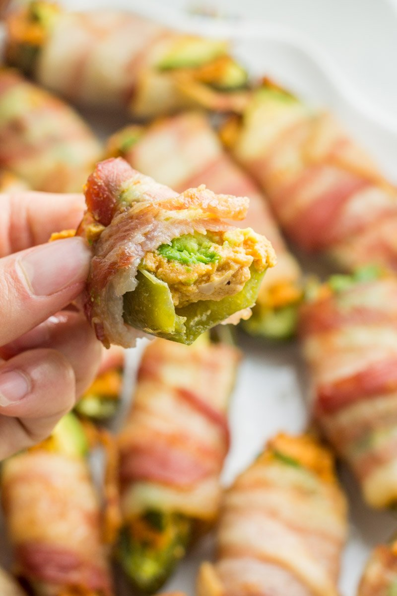 Dairy free bacon enchilada poppers - whole30 and paleo.