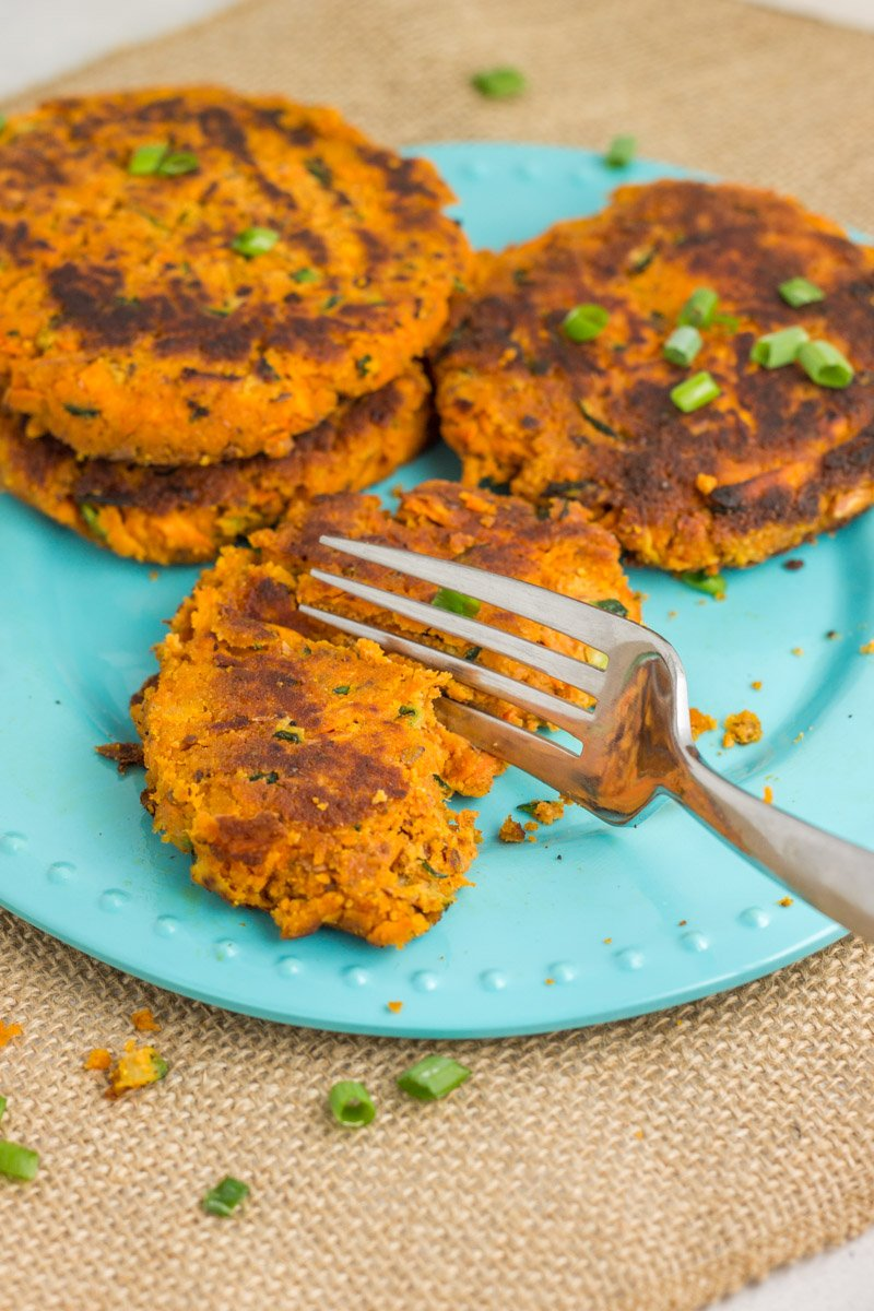 Gluten free, paleo sweet potato and zucchini burgers with a smoky seasoning. Whole30 compliant!