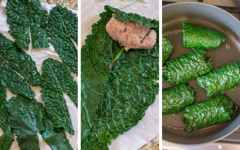 Cooking steps for making Italian turkey kale roll ups