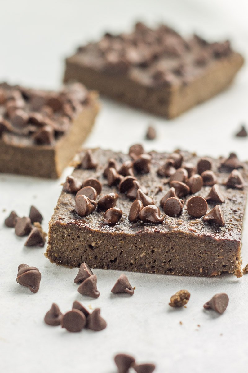 Double chocolate paleo protein brownie. The perfect healthy post-workout snack