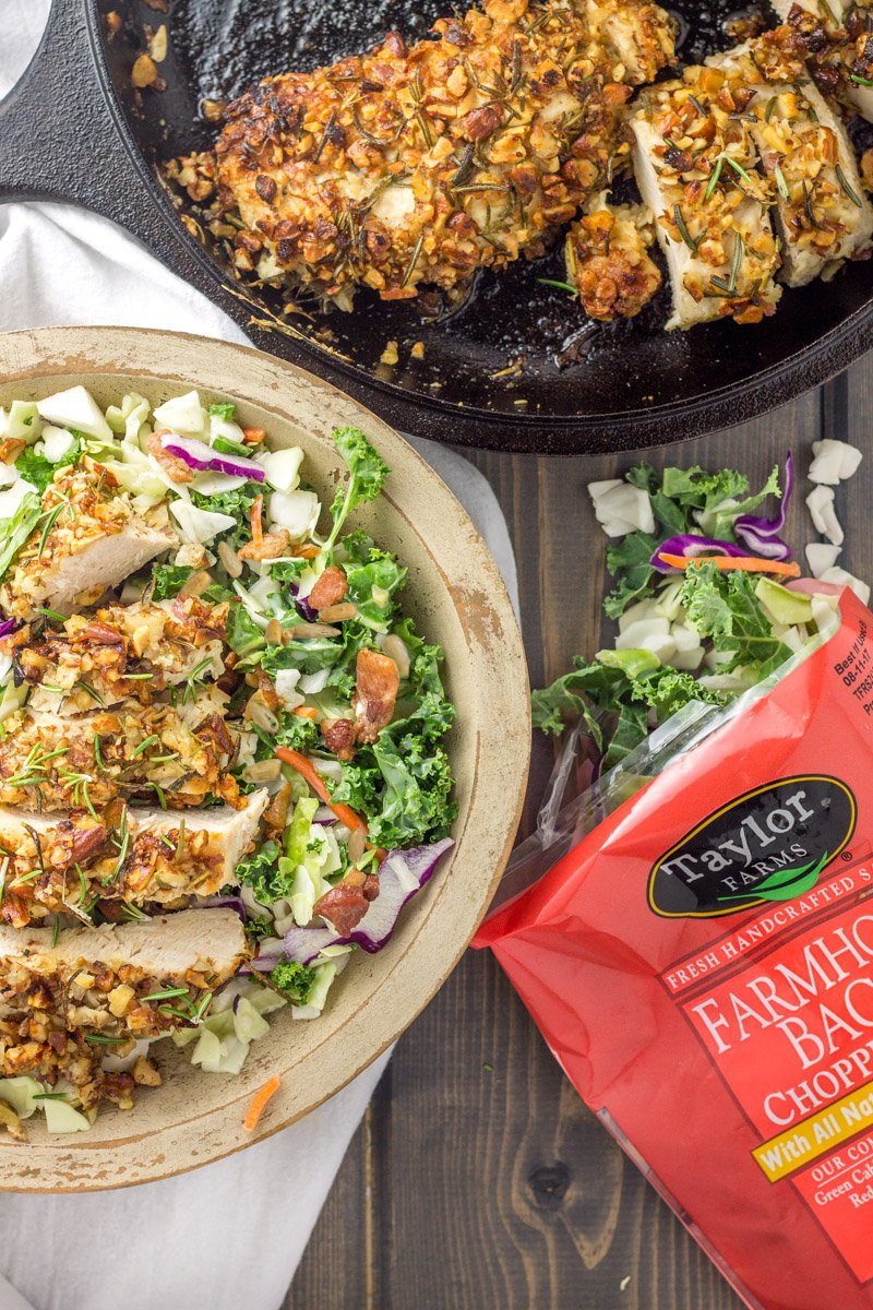 A one-pot almond crusted chicken over a bed of chopped lettuce. The perfect quick and healthy dinner