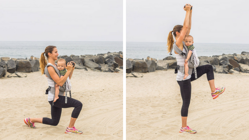 total body babywearing workout forward lunge overhead press