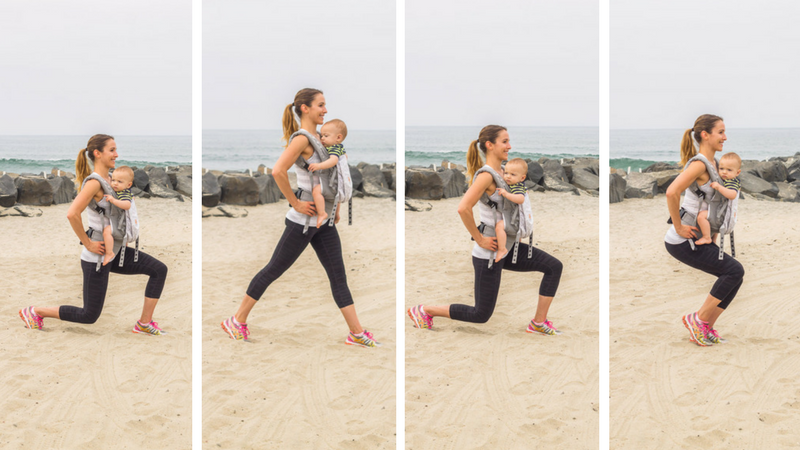 total body babywearing workout low lunge tap