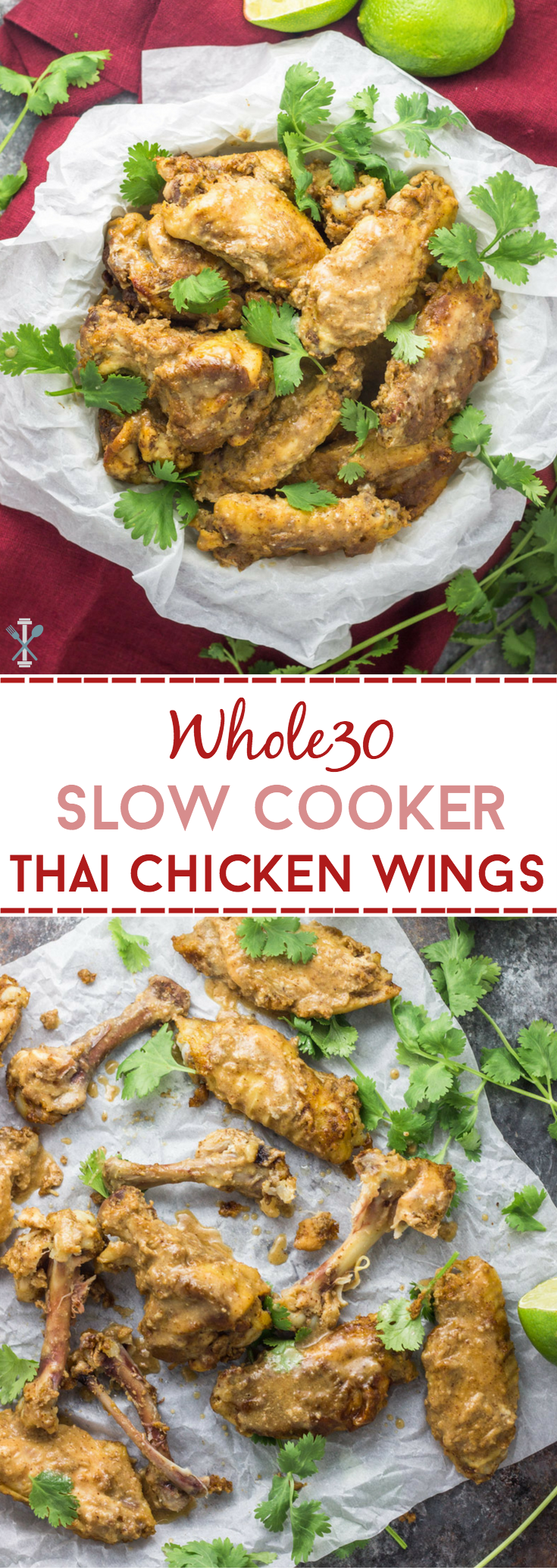 These slow cooker Thai chicken wings are paleo and Whole30. Made with a rich almond butter sauce, they're the easiest football appetizer this fall. Healthy game day food, in a crockpot!