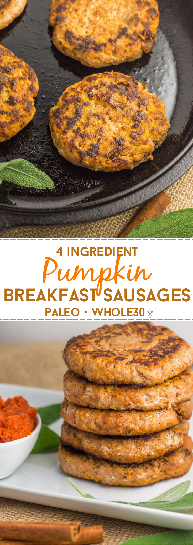 A Whole30 eggless breakfast - these 4 ingredient breakfast sausage patties have a savory pumpkin finish you'll be addicted to! So easy, squeaky clean, and freezer-friendly