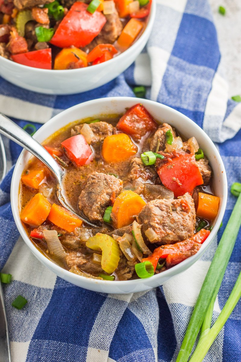 This paleo and Whole30 beef stew is an easy crockpot or slow cooker meal. And freezer friendly to assemble, then store for later!