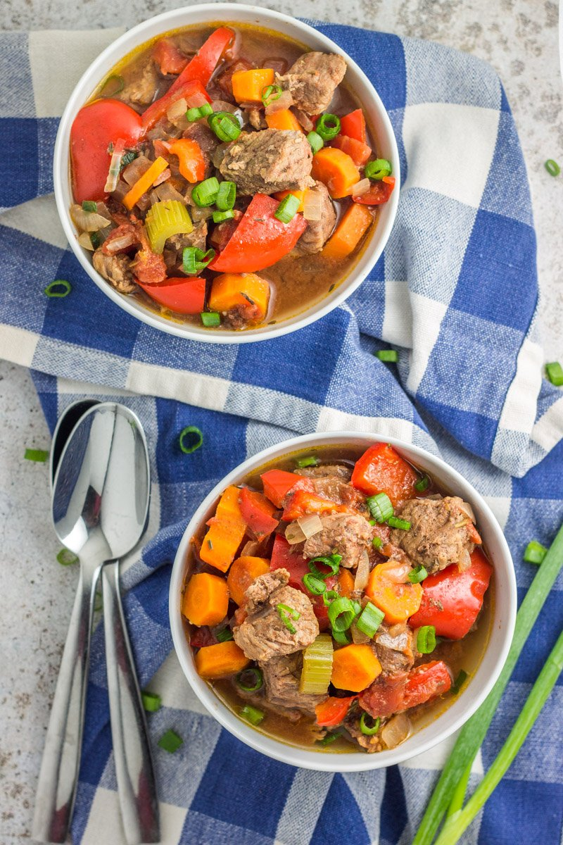 This freezer friendly slow cooker stew is tender, flavorful, and whole30 compliant!