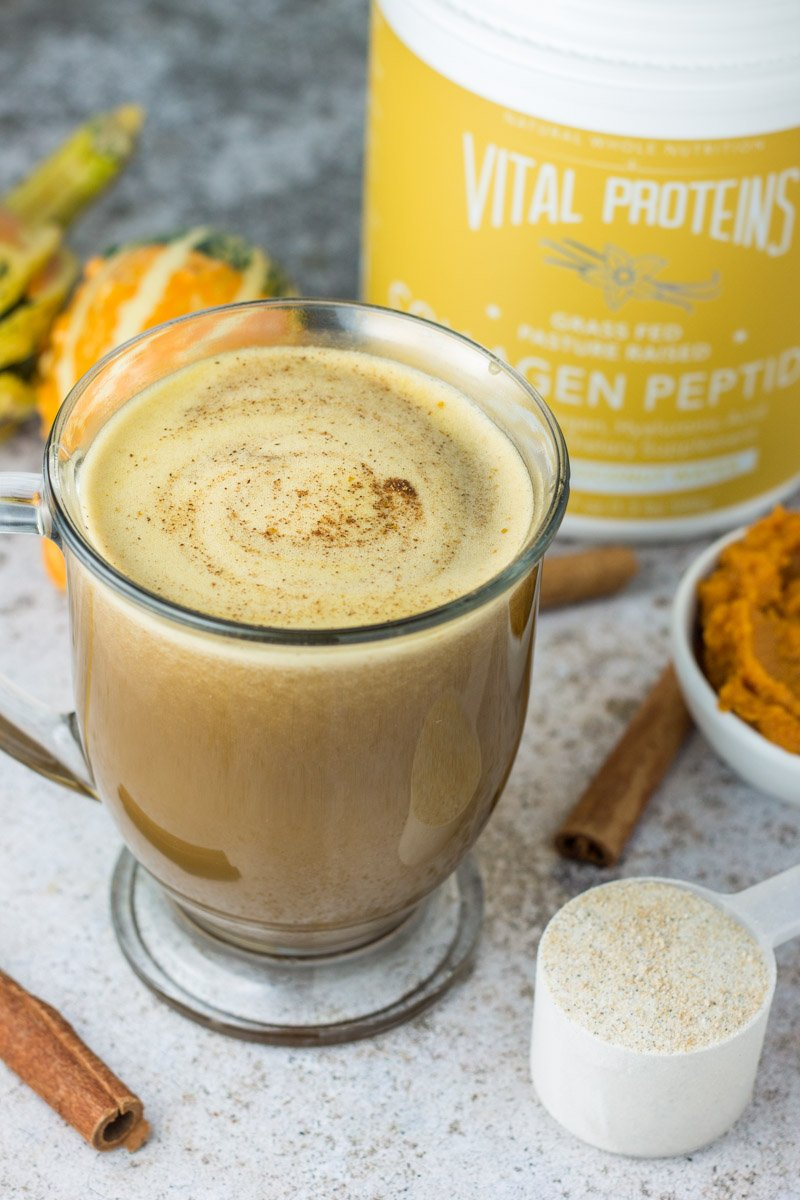 This paleo pumpkin spice latte is easy to make at home and so much healthier than the original. With a dose of collagen too!
