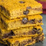 These gluten free paleo chocolate chip pumpkin blondies are a healthier alternative to traditional pumpkin baked goods. Refined sugar free and delicious!