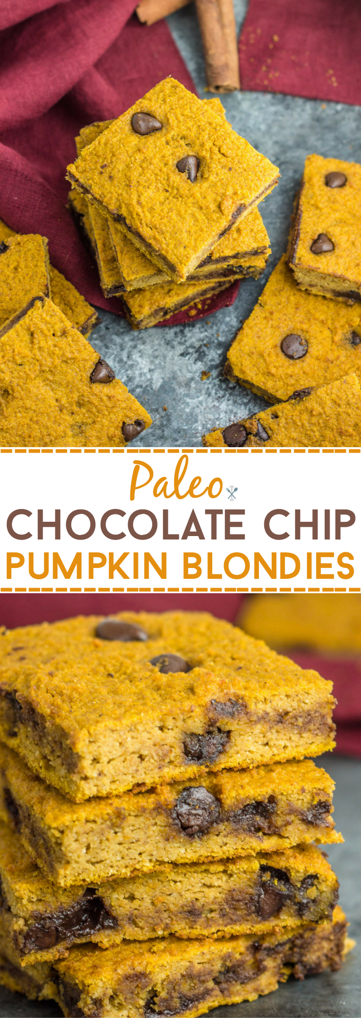 These gluten free, healthy paleo chocolate chip pumpkin blondies are a healthier alternative to traditional pumpkin baked goods. Refined sugar free, simple ingredients, and delicious!
