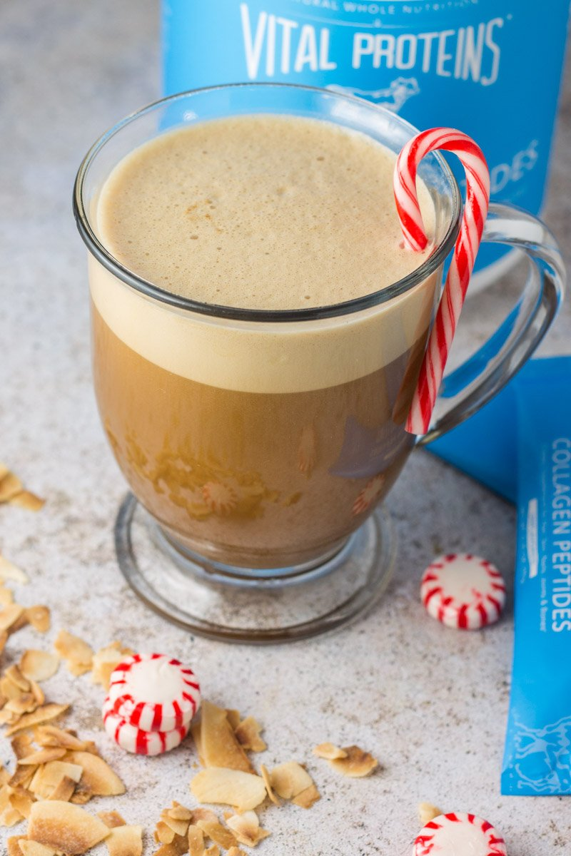 Paleo peppermint coconut blended coffee with collagen