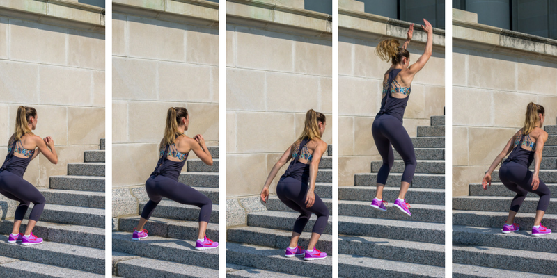 Stair Circuit Scorcher - lateral squat jumps