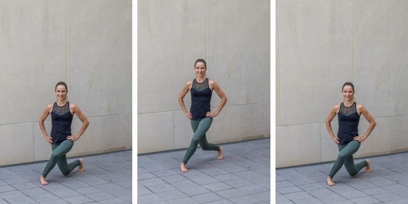 No Bare Barre Workout - curtsy lunge pulses