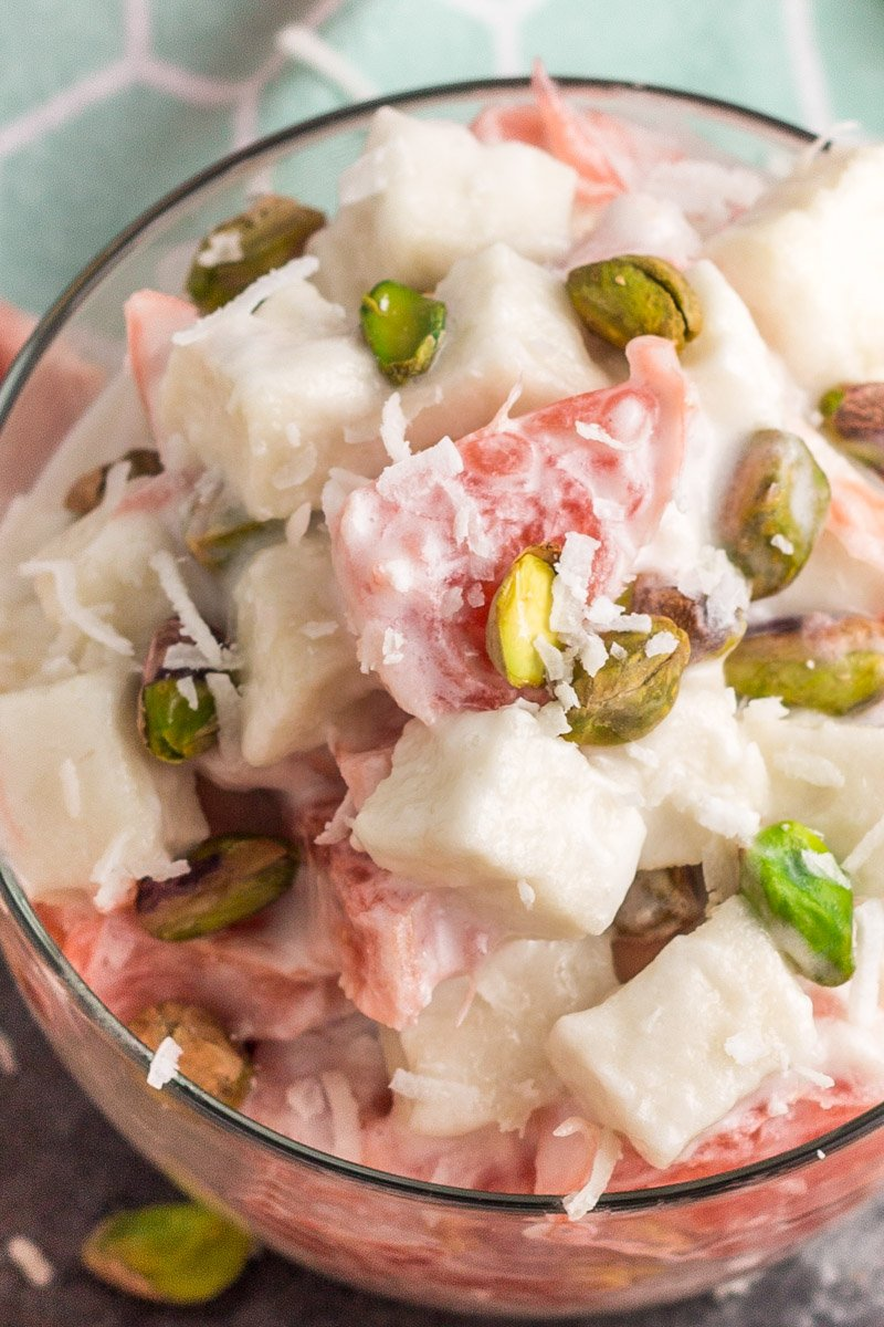 A paleo version of the classic fruit ambrosia salad. Refined sugar free and dairy free!