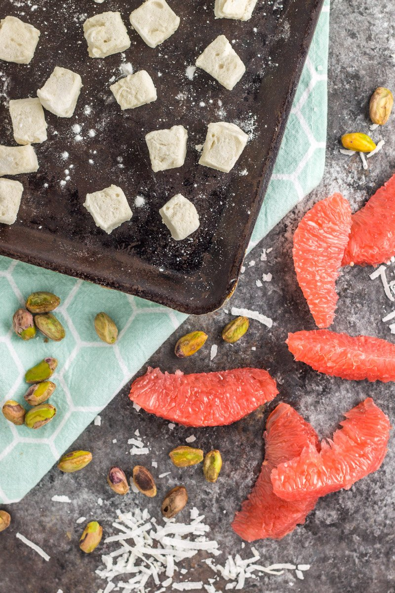 Paleo ambrosia salad with grapefruit, pistachios, and homemade refined sugar-free marshmallows