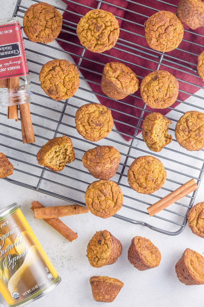 These paleo muffins are make with butternut squash and sweetened with banana. Dairy free, nut free, and gluten free