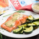 This whole30 & paleo sheet pan salmon has the most decadent dijon cream sauce - you'll be shocked it's dairy free, made with simple ingredients, and SO easy!