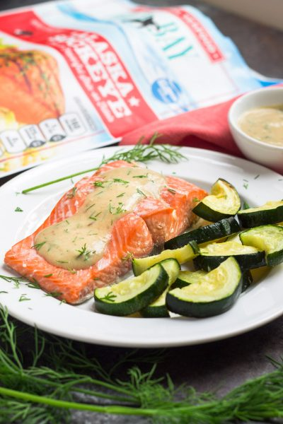 Sheet Pan Salmon with Dijon Cream Sauce (paleo + Whole30)