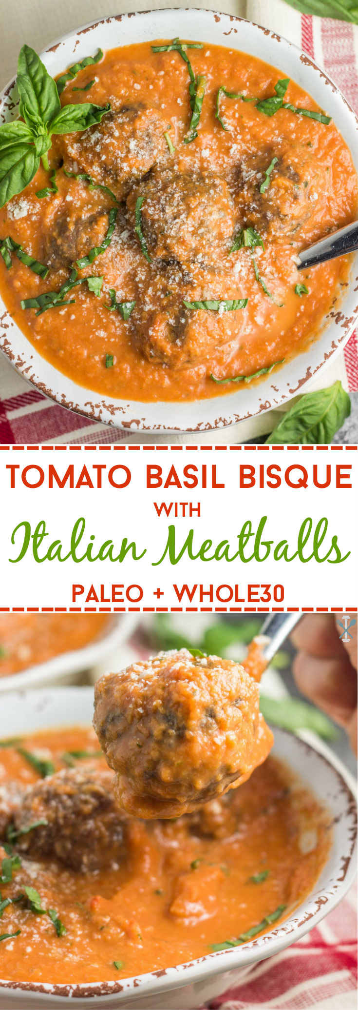 This dairy free and Whole30 compliant tomato basil bisque with Italian meatballs is an easy winter soup with simple ingredients! The perfect paleo dinner the whole family will love.