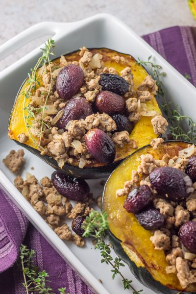Whole30 Roasted Grape Ground Turkey Stuffed Acorn Squash