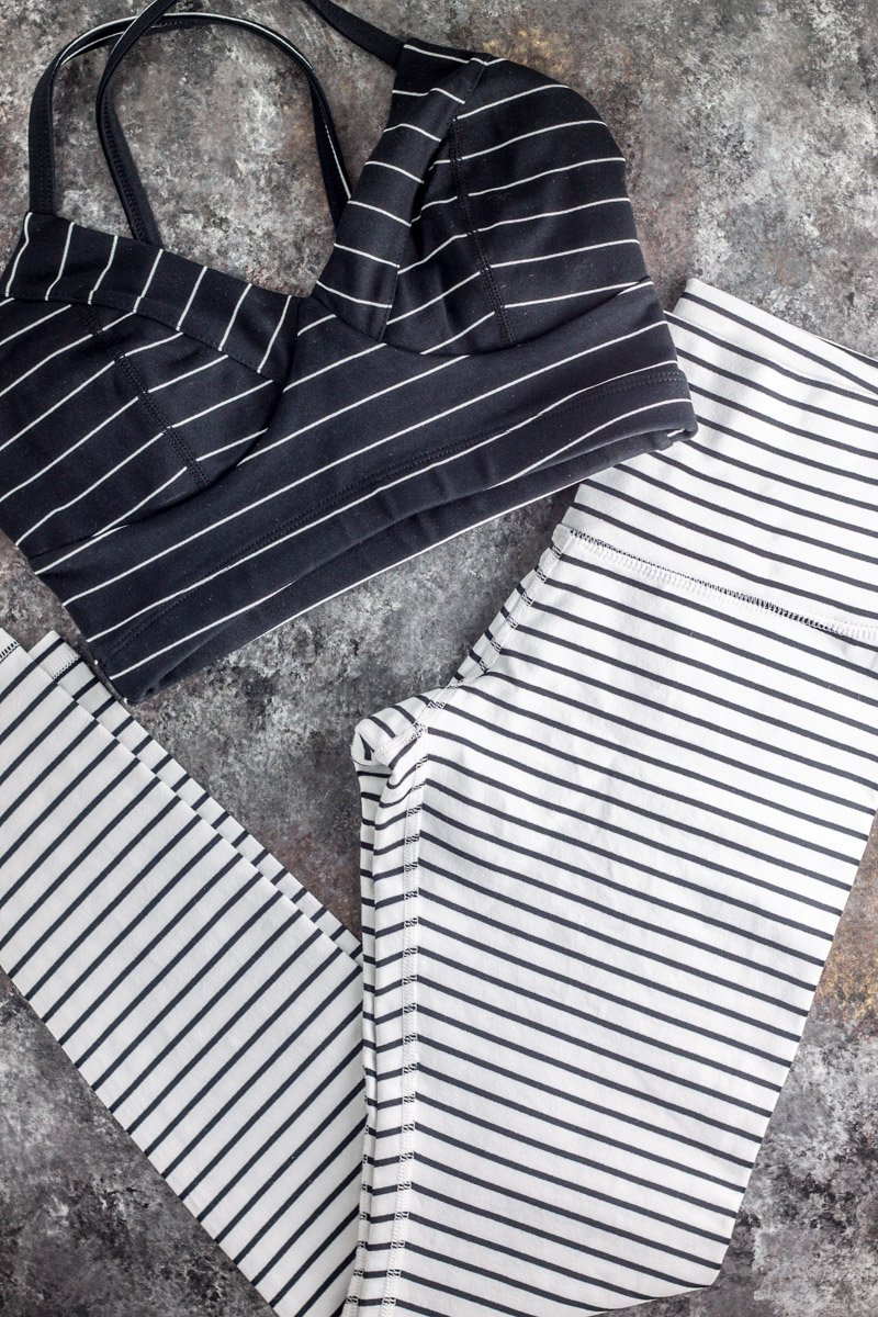 Black and white striped workout apparel