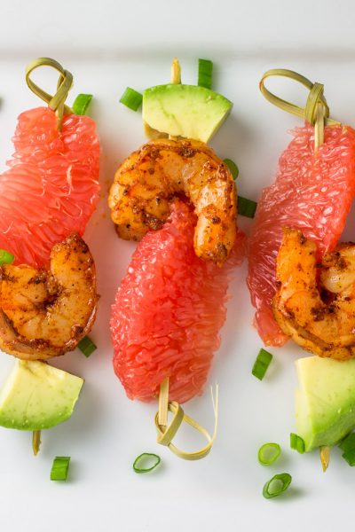 Blackened Shrimp Grapefruit Skewers