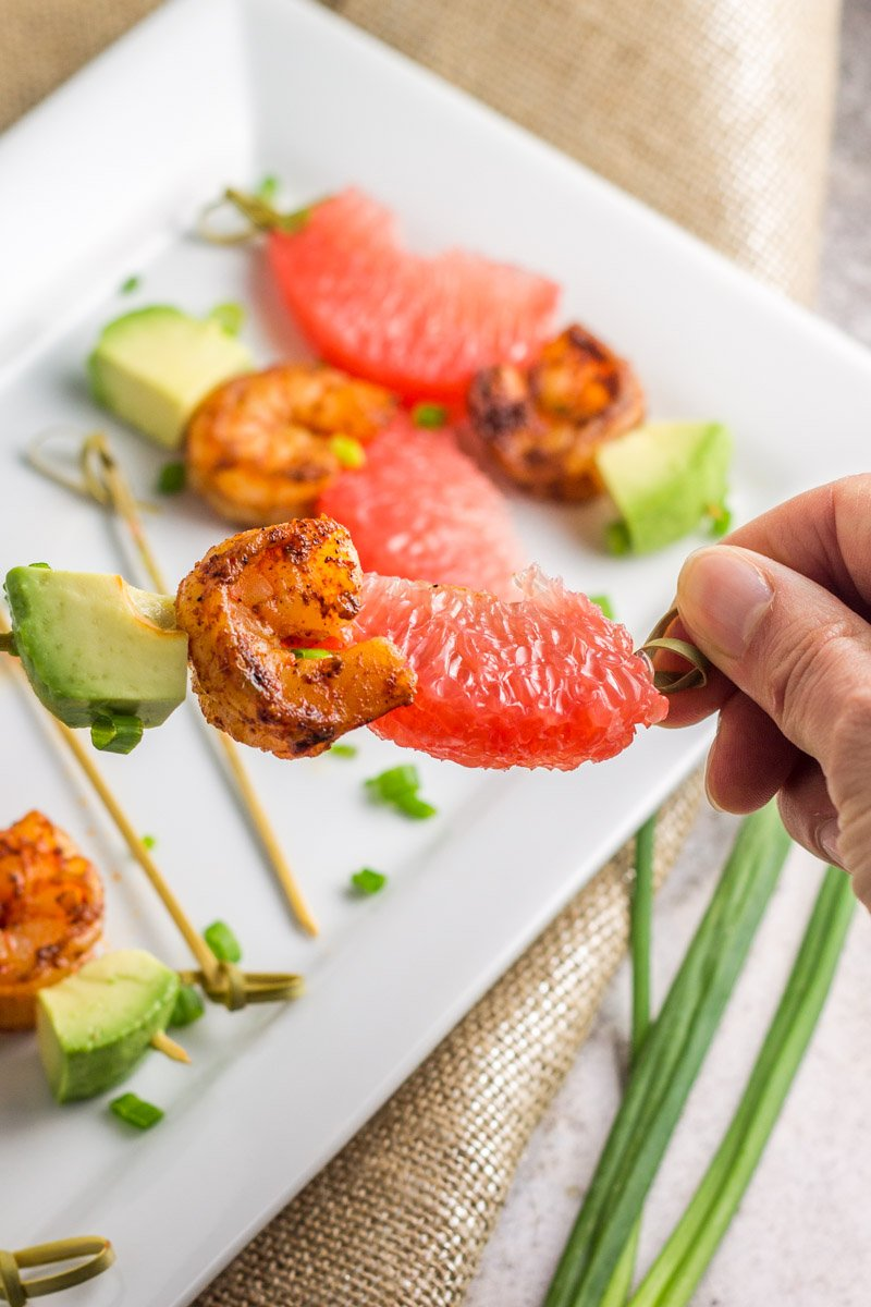 Gluten free, dairy free, paleo shrimp skewers with grapefruit and avocado for a major flavor kick!