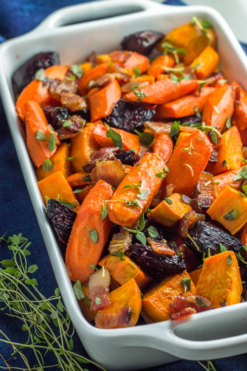 The perfect healthy side dish - paleo roasted root veggies with a sweet and savory honey lemon thyme glaze