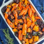 This paleo roasted root vegetable side dish is infused with bacon, honey, lemon and thyme.