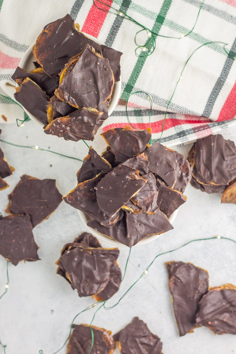 These paleo chocolate toffee 'chips' are made with only 5 ingredients - it's Christmas crack!