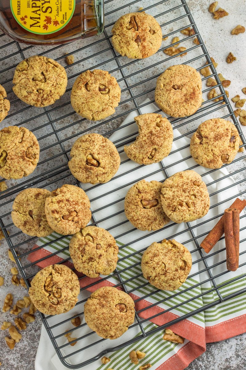Paleo maple walnut cookies - bursting with rich maple flavor and so soft and chewy. Prefect for dessert or even dipped in coffee for breakfast!