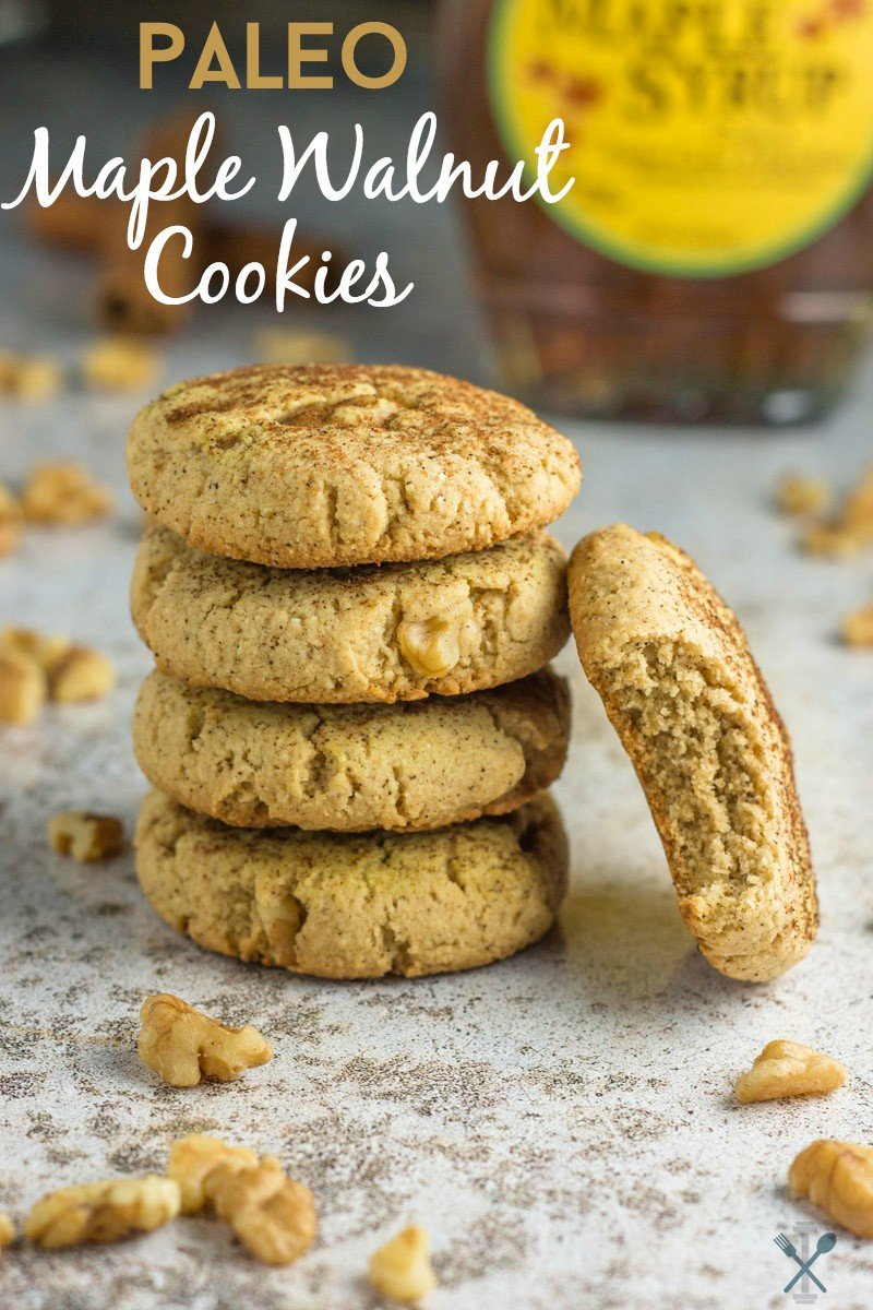 These paleo maple walnut cookies are grainless, eggless, and dairy free. THE best holiday cookie - so soft and chewy and amazing dipped in coffee!