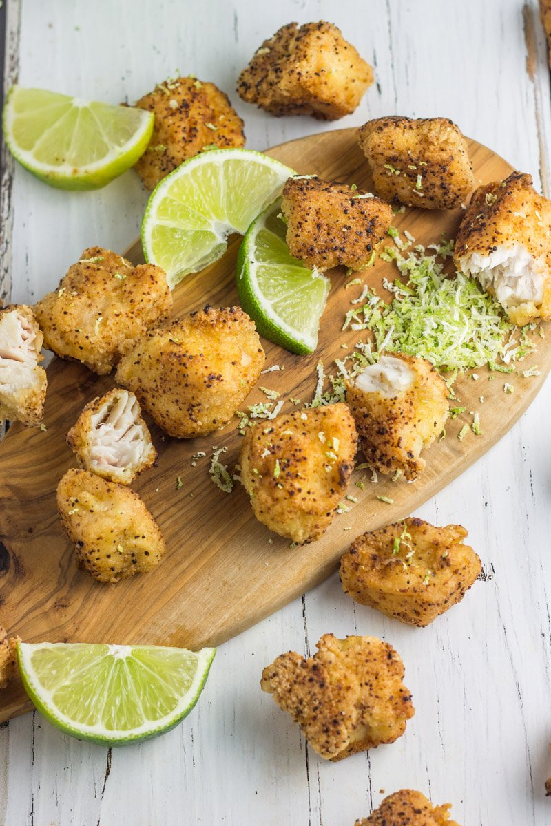These healthy, gluten free, paleo fried mahi fish bites are easy to make, kid-friendly and Whole30