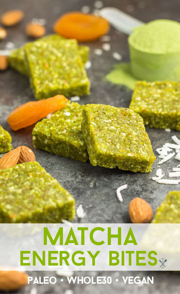 These paleo, vegan, and Whole30 Matcha Energy Bites are the perfect healthy snack made with only 5 ingredients.