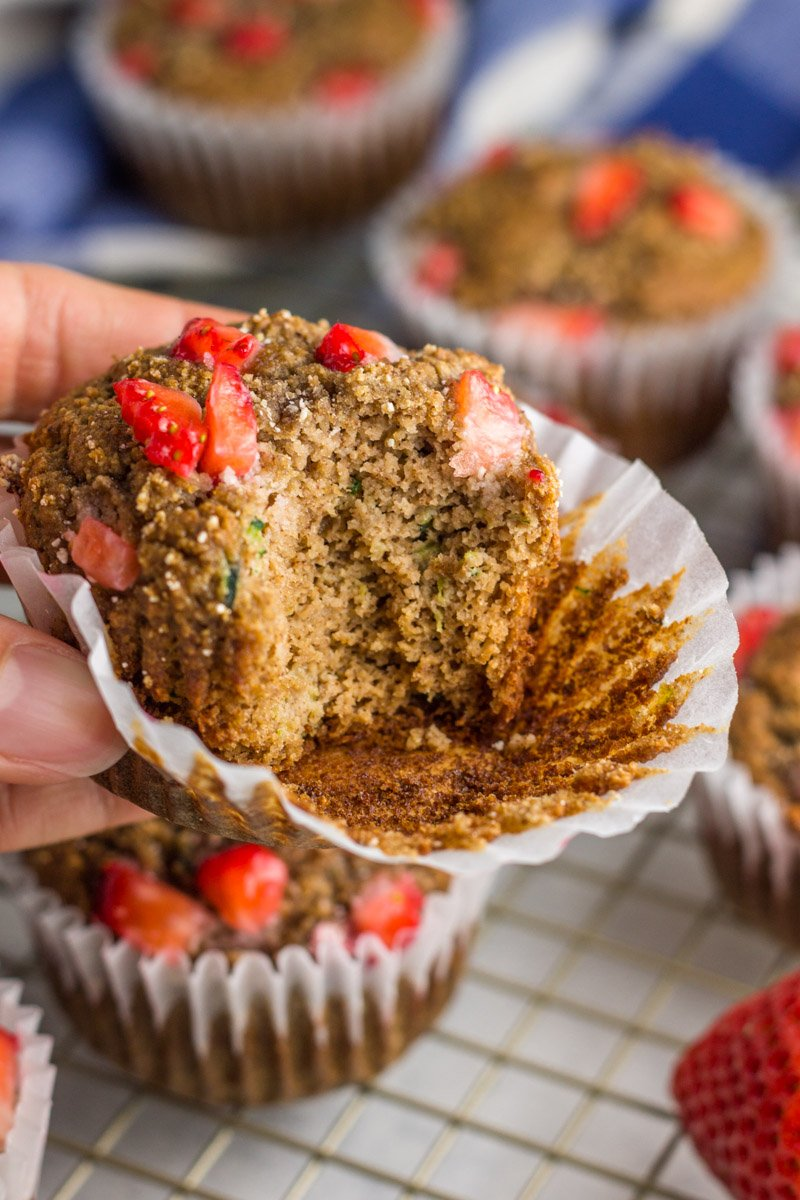 Paleo, gluten free, naturally sweetened. These almond butter strawberry zucchini muffins are delicious and healthy!