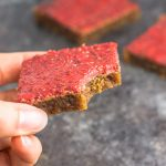 These gluten free, flourless peanut butter bars are covered in a naturally sweetened strawberry chia jam
