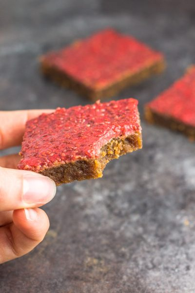 Flourless Peanut Butter & Strawberry Chia Bars